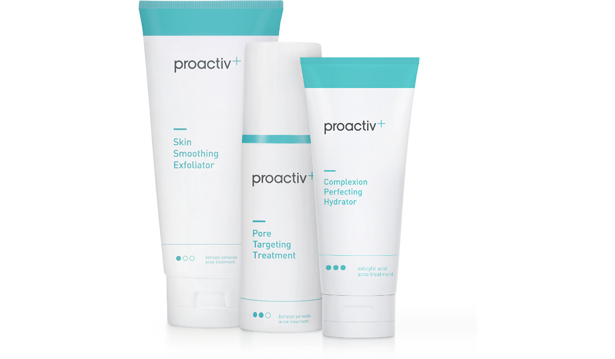 Three white and blue tubes of Proactiv+ photo