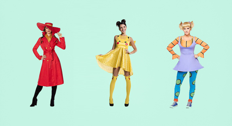 90s Halloween costumes including Carmen Sandiego, Pikachu, and Angelica