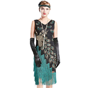 Adult flapper dress with peacock feathers photo