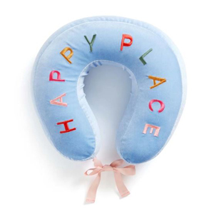 Light blue travel pillow that says,