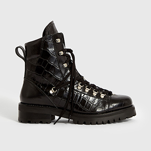 black faux crocodile leather motorcycle boots photo