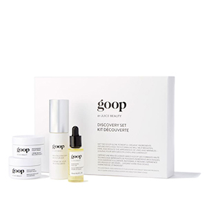Small white box with goop skincare products photo