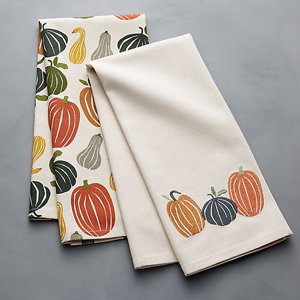 Two dish towels featuring a pumpkin and squash design photo
