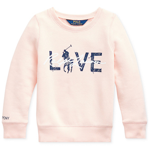 Polo Ralph Lauren Toddler Girls Pink Pony Fleece Logo Sweatshirt photo