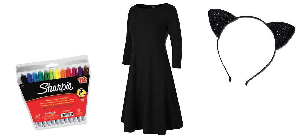 Black dress, cat ears, and sharpies photo