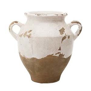 White and brown vase with handles photo