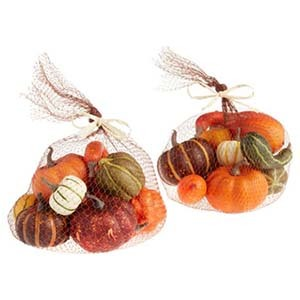 Two netted bags with faux gourds and pumpkins photo