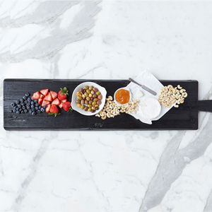 Black reclaimed wooden cheese board from Pottery Barn photo