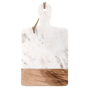 Marble cheese tray with brown wood block at the end from Houzz photo
