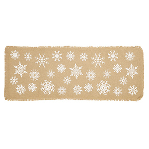 Brown burlap table runner with white snowflakes from Houzz photo