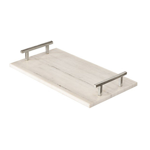 White marble serving tray with silver handles from Houzz photo