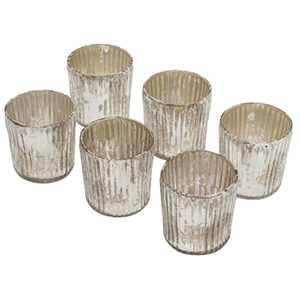 Set of six silver votive candle holders from Houzz photo