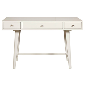 White writing desk with three drawers from Houzz photo
