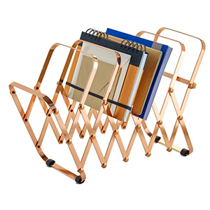 Bronze metal accordion file holder from Houzz photo