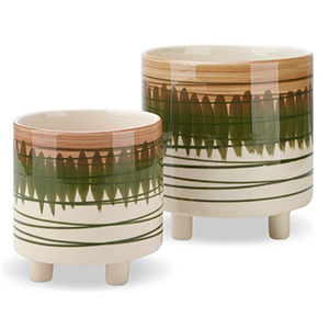 Two ceramic planters with brown and green painted designs from Houzz photo