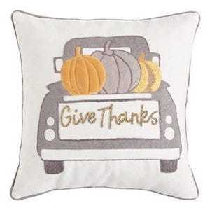 Pier 1 Give Thanks Truck Gray Pillow photo