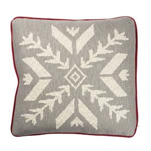 Gray, red, and white pillow with a large snowflake print photo