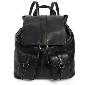 Black Faux leather backpack with two front pockets from Nordstrom photo