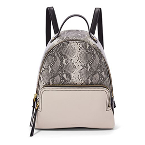 Gray and black snake print backpack from Fossil photo