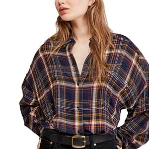 Woman wearing a purple and blue flannel from Macy's photo
