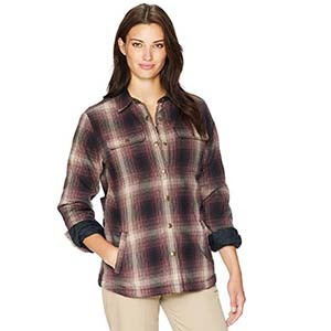 Red, black, and white Carhartt women's flannel from Amazon photo
