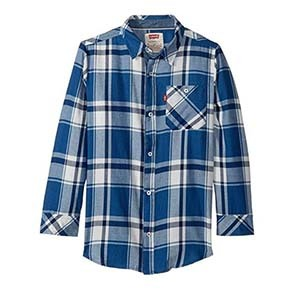 Blue and white kid's flannel photo