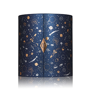 Navy blue ovular Charlotte Tilbury skincare advent calendar with gold and silver space illustrations from Nordstrom photo