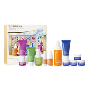 Multicolored bottles and tubes of Ole Henriksen skincare with advent calendar from Ole Henriksen photo
