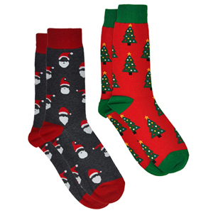 Two pairs of holiday crew socks with Santa and Christmas trees on them photo