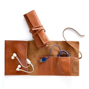 Brown leather charger roll up bag from Mark and Graham photo