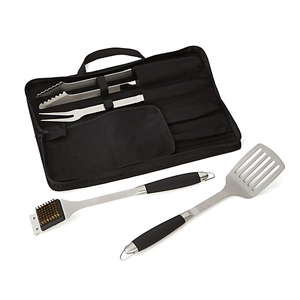 Four-piece stainless steel barbecue tool set from Crate and Barrel photo