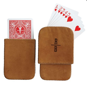 A set of playing cards inside a leather case from Mark and Graham photo