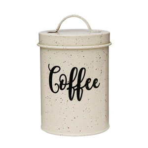 Cream canister with gold speckles and a script-style decal that says Coffee from Home Depot photo