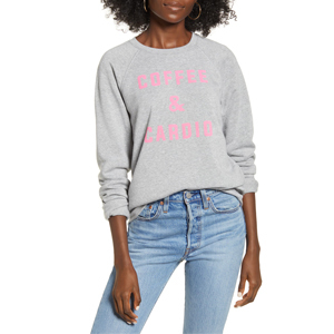 Heather gray and pink crewneck from Nordstrom that says