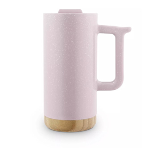 Light pink travel mug with handle and bamboo base from Target photo