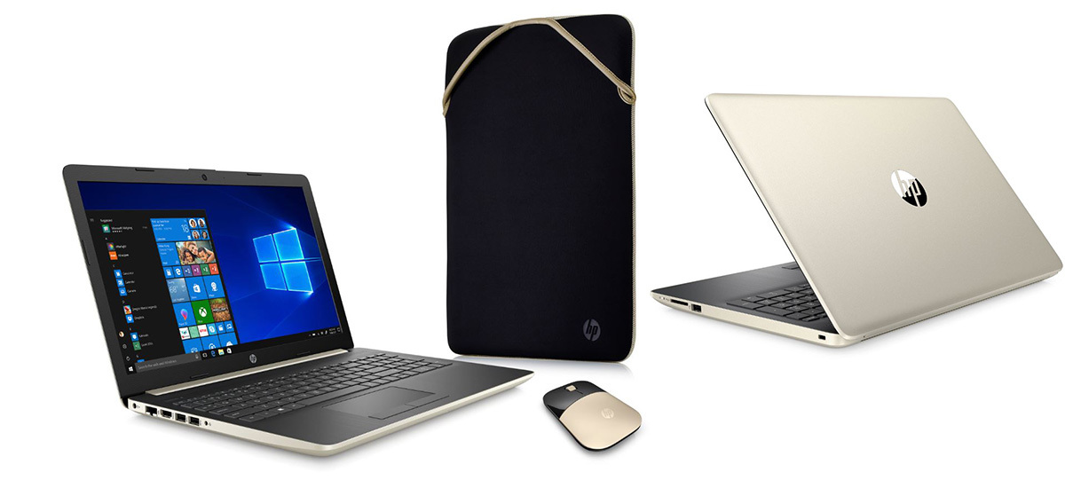 Gold HP laptop, case, and mouse from Walmart photo