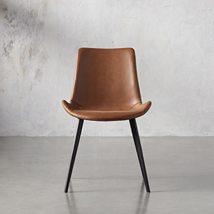 Brown leather dining chair from Arhaus photo