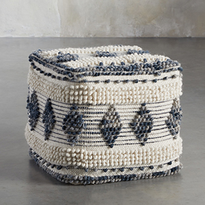 White and blue patterned square pouf from Arhaus photo