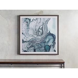 Blue and white abstract framed print from Arhaus photo
