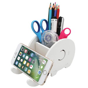 White elephant phone stand and pencil holder from Amazon photo