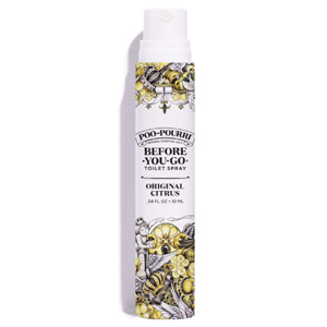 A travel-size bottle of Poo-Pourri toilet spray in the original citrus scent from Amazon photo