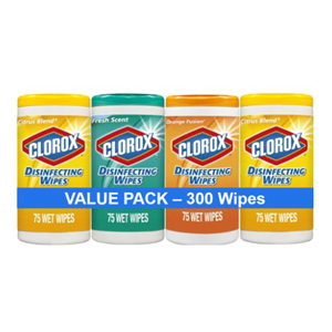 A pack of four 75-count Clorox disinfecting wipes from Walmart photo