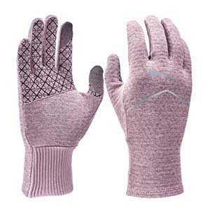 Pink Nike running gloves with black designs photo