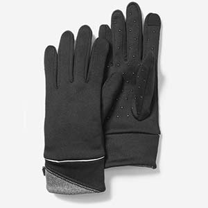 Black Eddie Bauer touchscreen gloves with white and gray accents photo