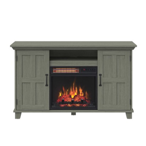 Distressed gray fireplace TV stand from Walmart photo