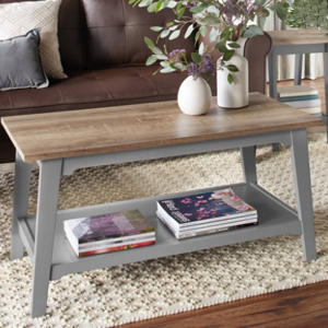 A gray two-tier coffee table with a faux wood top from Walmart photo