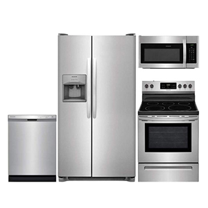 Four-piece stainless steel kitchen appliance package from Amazon photo