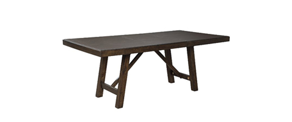 Deep brown Rokane dining room extension table from Ashley Furniture Homestore photo