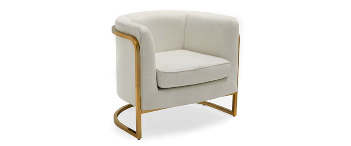 Round ivory modern accent chair with brass frame from Walmart photo