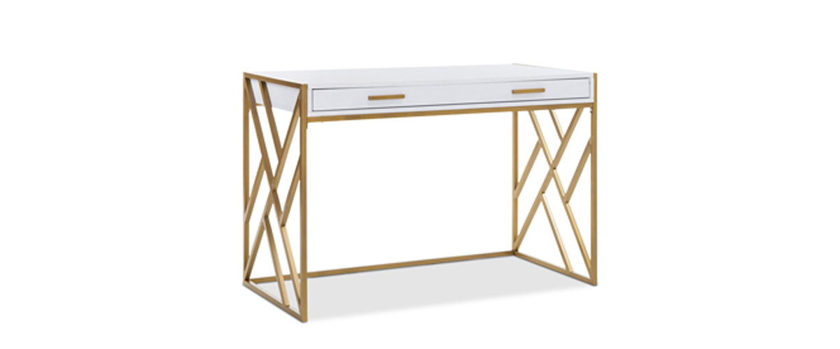 White two-drawer desk with gold base and handles from Macy's photo